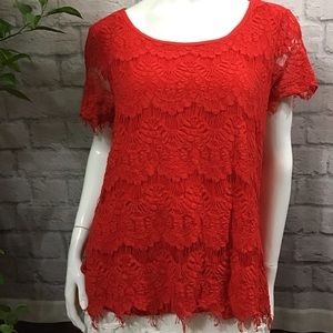 🌻 SALE! 3/$20 Red lace plus XL layered top